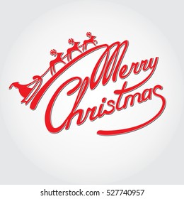 """""""Merry Christmas"""" handwritten red inscription on light background with Santa Claus and deer sledge. Hand drawn lettering."""