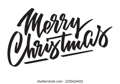 Merry Christmas - hand-written text, typography, calligraphy, lettering. Congratulation on Christmas holiday. Vector in one color, for cutout, greeting card, label, title, banner, poster, flyer.