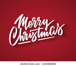 Merry Christmas hand-written text, words, typography, calligraphy, lettering. Vector white inscription on Cristmas holiday on red background. For banner, flyer, poster, greeting card