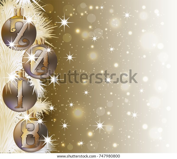 Merry Christmas Happy 2018 New Year Stock Vector Royalty