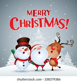 Merry Christmas Happy Christmas Companions Stock Vektorgrafik