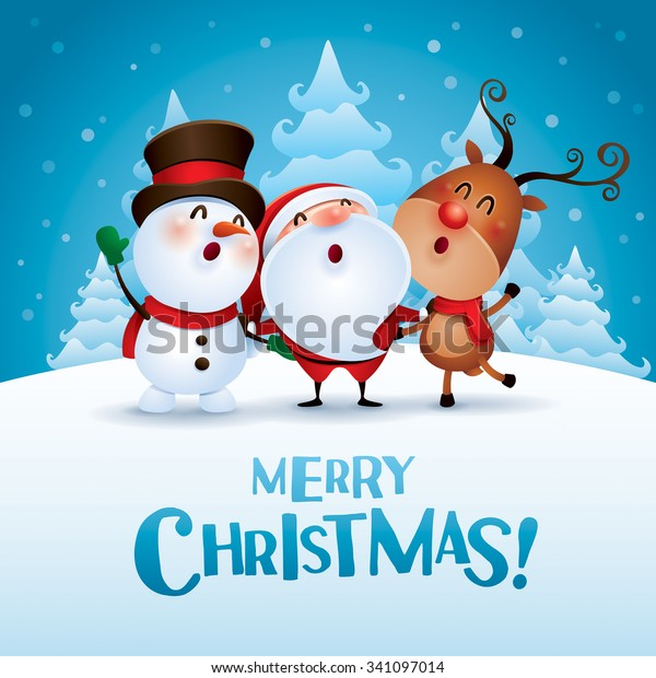 Free Merry Christmas Images.Merry Christmas Happy Christmas Companions Stock Vector