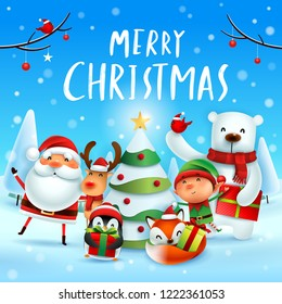 Merry Christmas! Happy Christmas companions. Santa Claus, Reindeer, Elf, Polar Bear, Fox, Penguin and Red Cardinal Bird in Christmas snow scene.