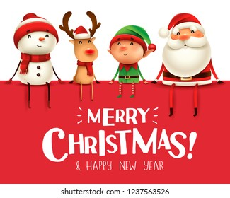 Merry Christmas! Happy Christmas companions sit on big signboard.