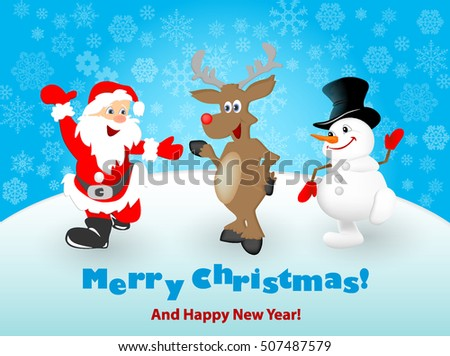 Merry Christmas Happy Christmas Friends Stock Vector (Royalty Free ...