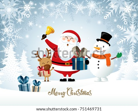 Merry Christmas Happy Christmas Friends Santa Stock Vector (Royalty ...