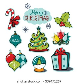 Merry Christmas happy holiday illustration set