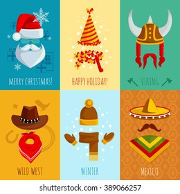 Merry christmas happy holiday viking wild west winter and mexico hats and accessories flat mini posters vector illustration
