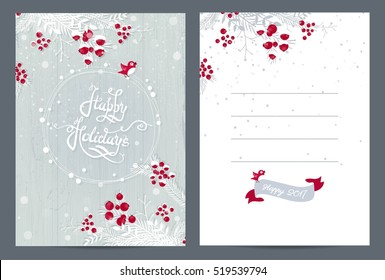 Merry Christmas and Happy Holidays 2017 cute hand drawn postcard. Christmas card poster flyer. Vector illustration