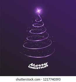 Merry Christmas, Happy Holidays Card - Dark Christmas Tree Shape Made from Bright Spiraling Light