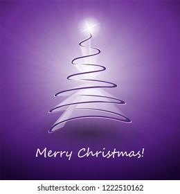 Merry Christmas, Happy Holidays Card - Dark Christmas Tree Shape Made from White Ribbon