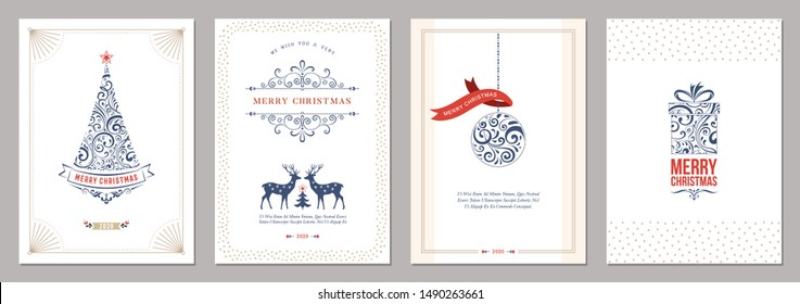 Merry Christmas and Happy Holidays cards set with New Year tree, reindeers, gift box, ornaments and typographic design. Vector illustration.