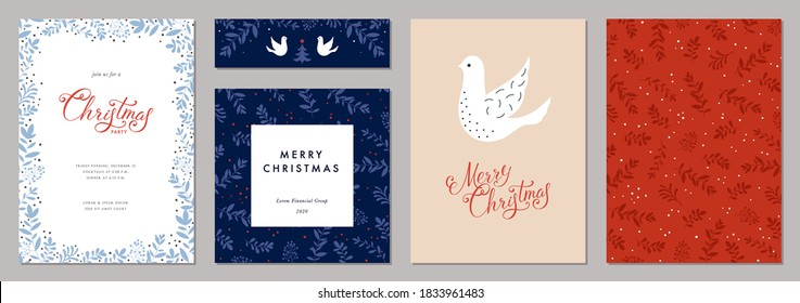 Merry Christmas and Happy Holidays cards with Dove, floral frames and backgrounds. Modern universal artistic templates. Vector illustration.
