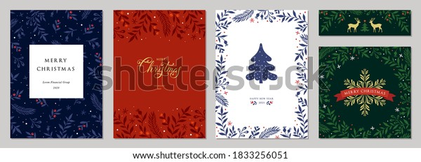 Merry Christmas and Happy Holidays cards with New Year tree, reindeers, snowflakes, floral frames and backgrounds design. Modern universal artistic templates. Vector illustration.