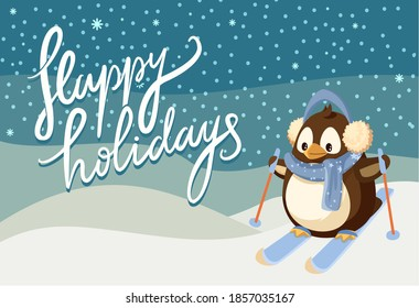 Merry Christmas happy holidays greeting poster vector. Penguin animal wearing warm clothes knitted scarf and headwear, skiing down hill winter scenery