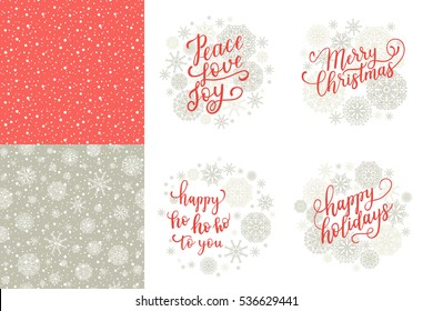 Merry Christmas, Happy Holidays, Happy ho to you, Peace Love Joy greeting cards set for New Year 2017. Vector winter holiday background with hand lettering calligraphy, snowflakes, falling snow