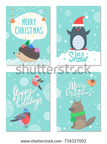 Merry Christmas Happy Holidays Let Snow Stock Vector (Royalty Free ...