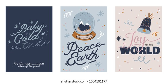 Merry Christmas or Happy New 2020 Year cards with holiday lettering and traditional winter element. Cute illustration in scandinavian style. Good for label, banner, tags or stickers . Vector isolated