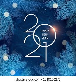 Feliz Navidad y Feliz Año Nuevo 2021 Año de fondo navideño con ramas de abetos y luces.