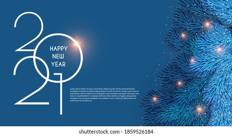 Merry Christmas and Happy New 2021 Year Holiday background with fir tree branches and lights.