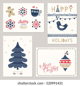 Merry Christmas and Happy New Year greeting cards. Vector illustration.