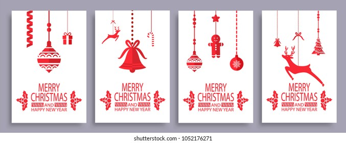 Merry Christmas and happy New Year set of posters isolated on white background. Vector illustration with xmas tree surrounded by cookies, glass balls and deer