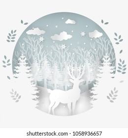 Merry Christmas and Happy New Year. Deer in forest with snow in the winter season.Design paper art and crafts.