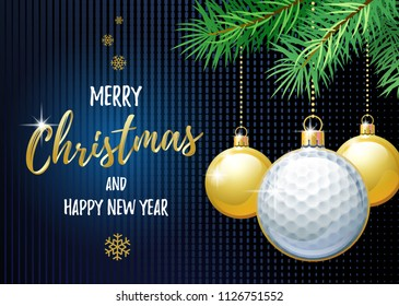 Merry Christmas and Happy New Year. Sports greeting card. Golf ball as a Christmas ball. Vector illustration.