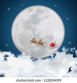 Merry Christmas and Happy New Year holiday. Santa Claus in sleigh with reindeer on full moon, stars and clouds in night as poster , greeting card and Cartoon style Concept. Vector illustration.