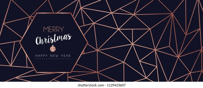 Merry Christmas and Happy New Year web banner with luxury xmas decoration in abstract geometric line style, copper color holiday illustration. EPS10 vector.
