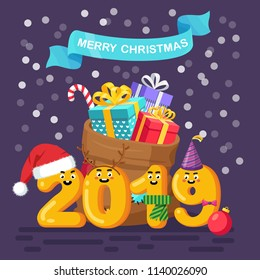 Merry christmas and happy New Year 2019 greeting card. Funny numbers, characters with santa claus bag, party hat and gifts. Pile of presents, surprises, prizes. Vector illustration. Flat design