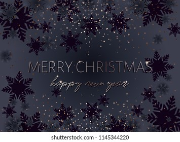 Merry Christmas. Happy new year postcard. Gold inscription. Xmas banner. Strict style for mens. Golden glow of confetti. Proportional to A6.