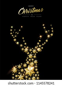 Merry Christmas And Happy New Year Gold Deer Silhouette Made Of Realistic Golden Stars Ideal