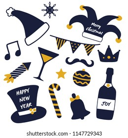 Merry Christmas happy New Year masquerade stuff isolated on white background. Vector illustration with festive hats, petards and alcoholic drinks