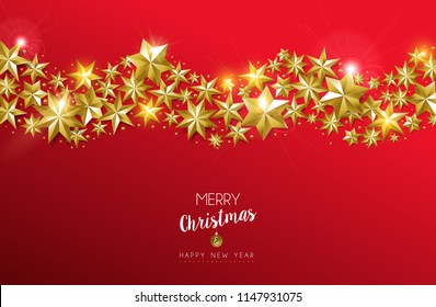 Merry Christmas and Happy New Year luxury gold star decoration design on festive red background. Ideal for greeting card or elegant holiday party invitation. EPS10 vector.