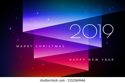 Merry Christmas and Happy New Year 2019 greeting card with Aurora Borealis, Northern lights on beautiful night starry sky - vector illustration for Christmas and New Year designs
