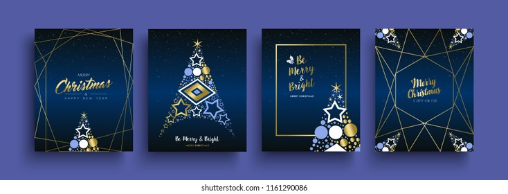 Merry Christmas and Happy New Year luxury greeting card set. Gold holiday collection with pine tree, text quote, xmas ornament decoration. EPS10 vector.