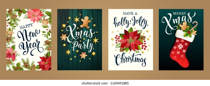 Merry Christmas and Happy new year 2019 white and black colors. Design for poster, card, invitation, card, flyer, brochure. Vector isolated illustrations.