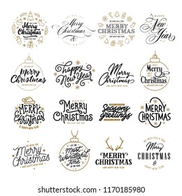Merry Christmas and Happy New Year typography collection. Holiday related lettering templates for greeting cards, overlays. The most wonderful time. Season greetings. Vector vintage illustration.