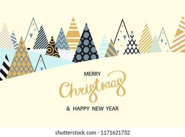 merry christmas and happy new year greeting card with creative fir trees vector background