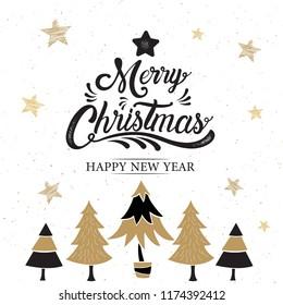 Merry Christmas, happy new year, logo & symbol design, gold, vector illustration.