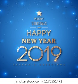 Merry Christmas and Happy New Year 2019 Typography Poster. Words in form of abstract Xmas tree with gold star on the top on blue background. Vector illustration.