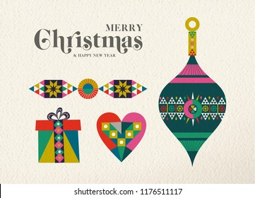 Merry Christmas and Happy New Year holiday folk art greeting card illustration. Scandinavian ornament bauble decoration, traditional geometric shapes in festive colors. EPS10 vector.