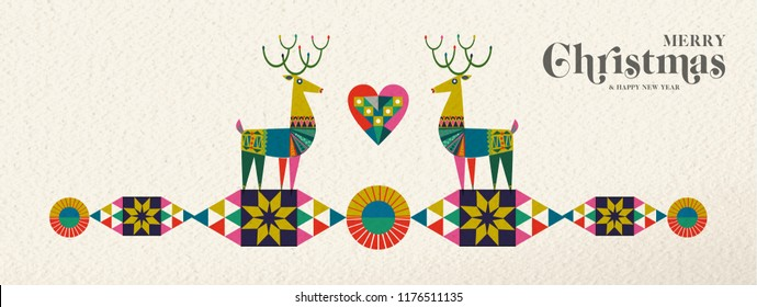Merry Christmas and Happy New Year banner illustration of cute deer in vintage geometric shape style, colorful winter holiday Scandinavian design. EPS10 vector.