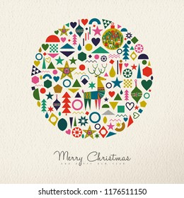 Merry Christmas and Happy New Year holiday folk art card illustration. Scandinavian style decoration icons, traditional geometric shapes in festive colors. EPS10 vector.