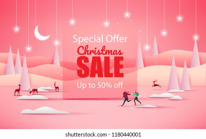 Merry Christmas and Happy New Year. Christmas sale. Holiday background. paper craft style.