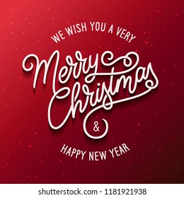 Merry Christmas and Happy New Year lettering template. Greeting card invitation on red background. Winter holidays related typographic quote. Vector vintage illustration.