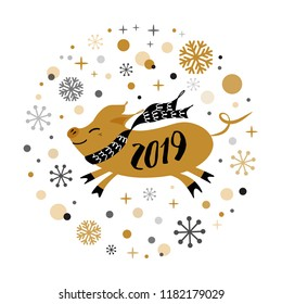 Merry Christmas and Happy New Year 2019 golden pig, gold snowflakes stars banner on white New Year design template for print sign postcard booklet leaflets poster banner invitation Vector illustration