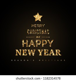 Merry Christmas and Happy New Year 2019 Typography Poster. Words in form of abstract Xmas tree with gold star on the top on black background. Vector illustration.