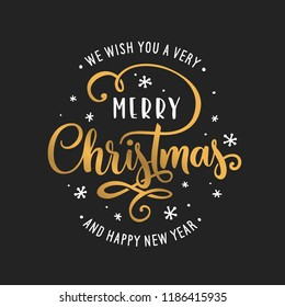 merry christmas and happy new year lettering template greeting card invitation with golden snowflakes